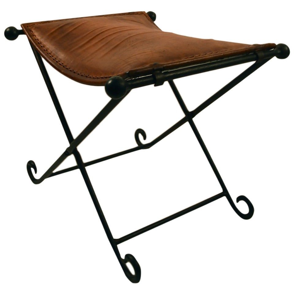 Leather and Iron X-Form Stool