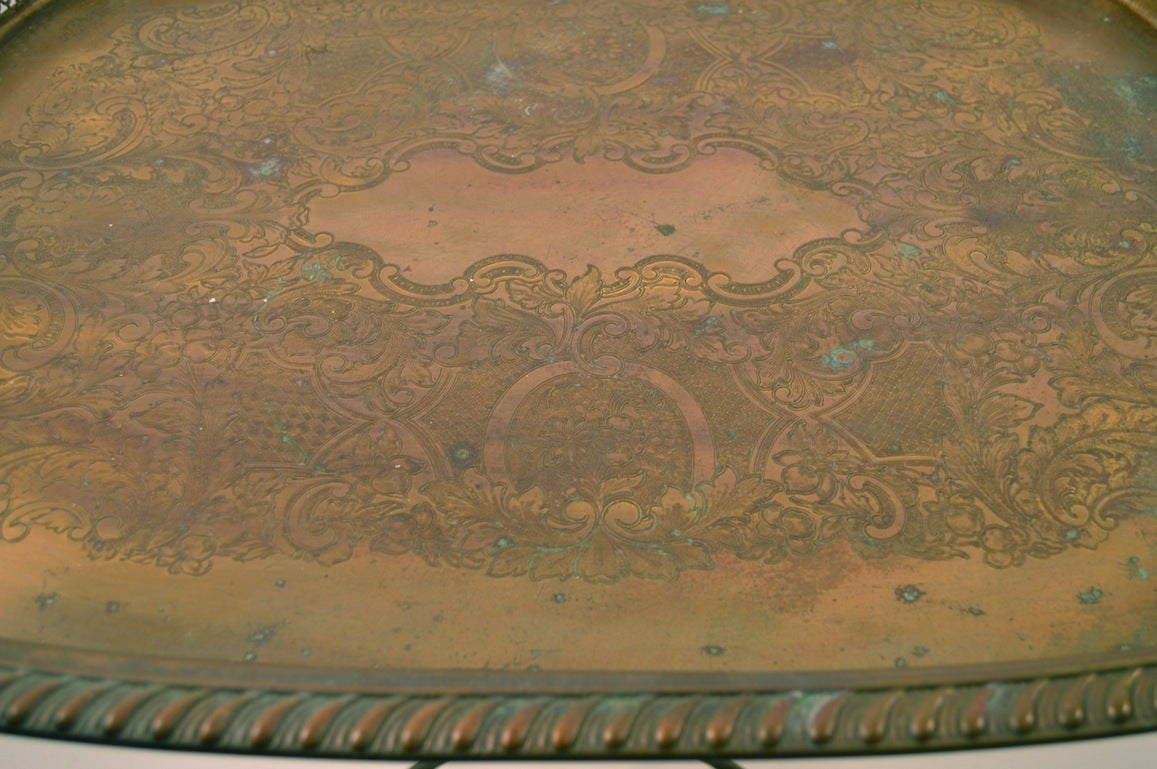 Hollywood Regency Classical Brass Tray-Top Table For Sale