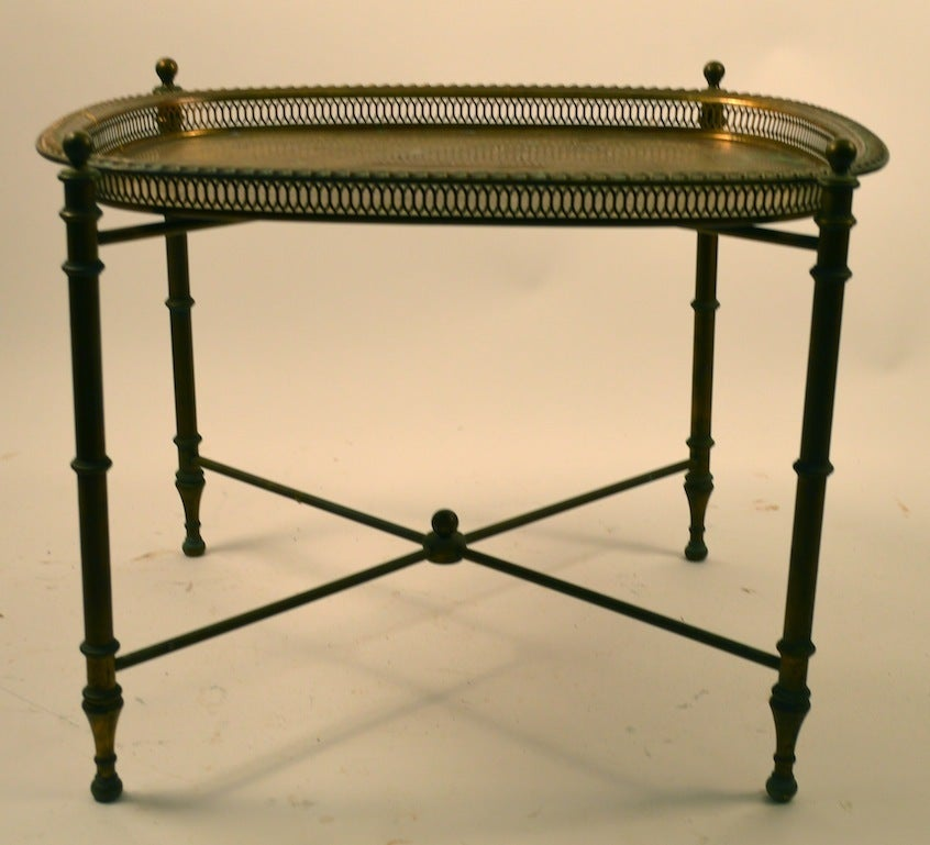 Italian Classical Brass Tray-Top Table For Sale