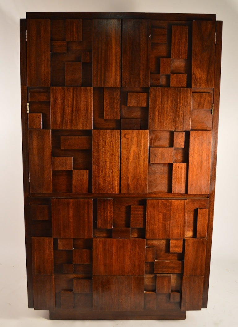 Large Lane Furniture Block Front Brutalist Chifferobe, Armoire. The Top  Section Has Two Doors