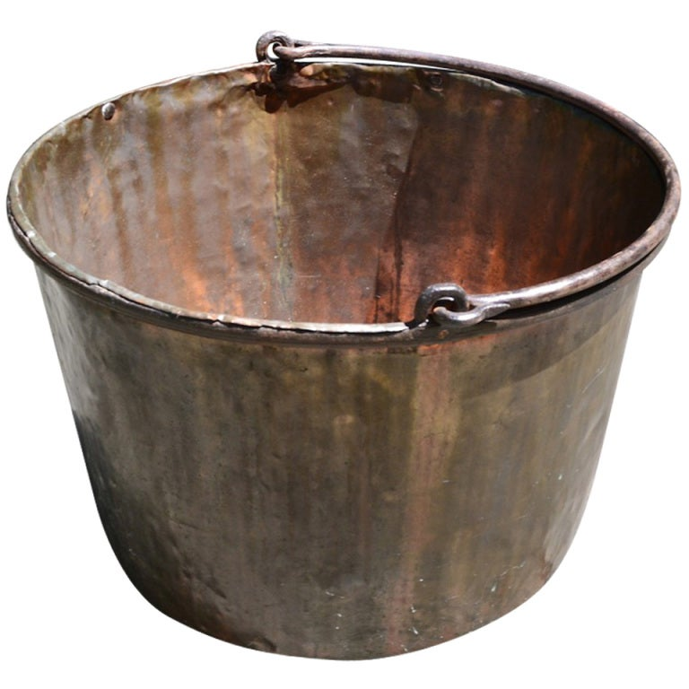 19th C Copper Bucket With Iron Handle At 1stdibs