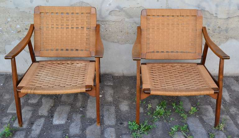 Pair of Mid Century Modern Arm Chairs Made in Yugoslavia 2