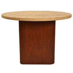 Probber Travertine Top Taboret End Table
