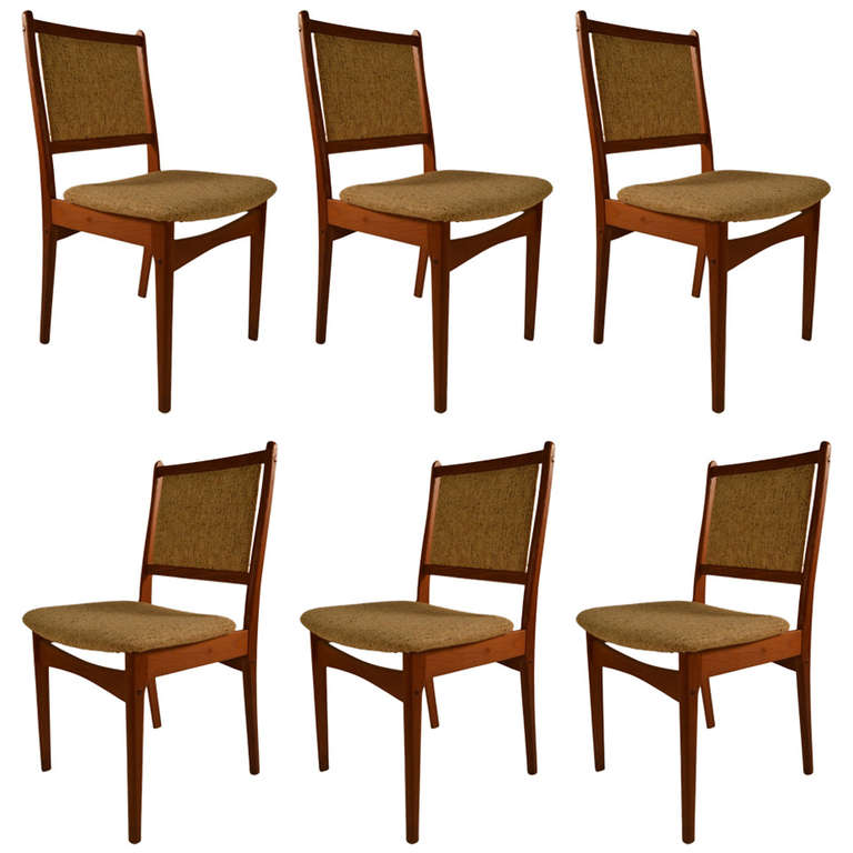 Danish modern set of six teak dining chairs for sale at for Dining room chairs set of 6