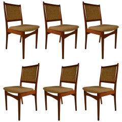 Danish Modern Set of Six Teak Dining Chairs