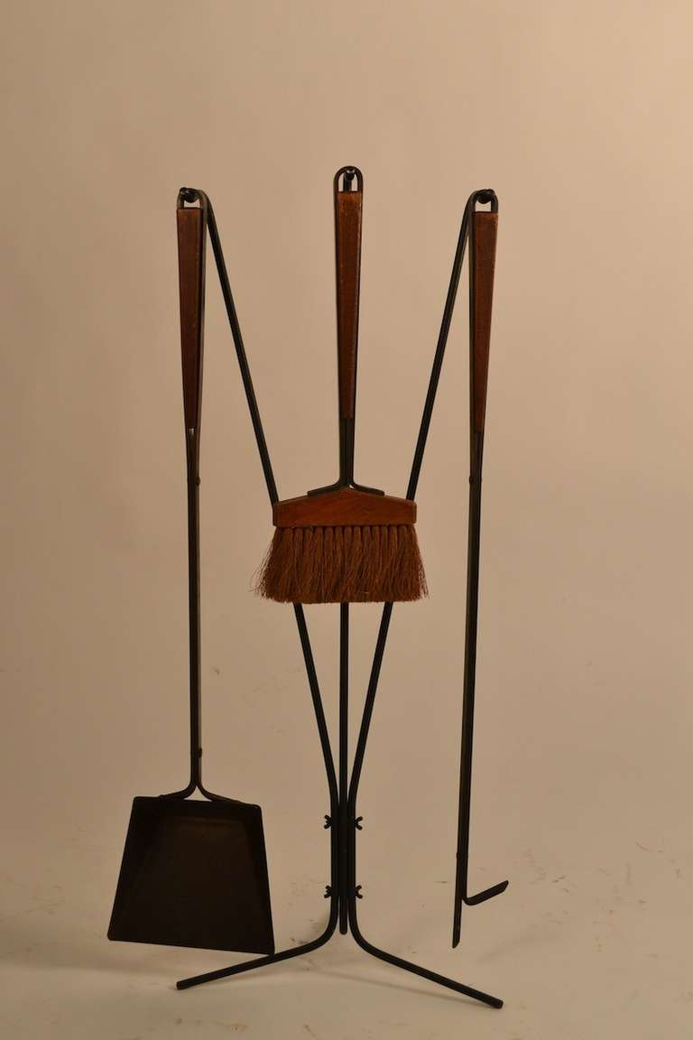 Five Piece Midcentury Fireplace Tools With Log Holder For Sale At 1stdibs