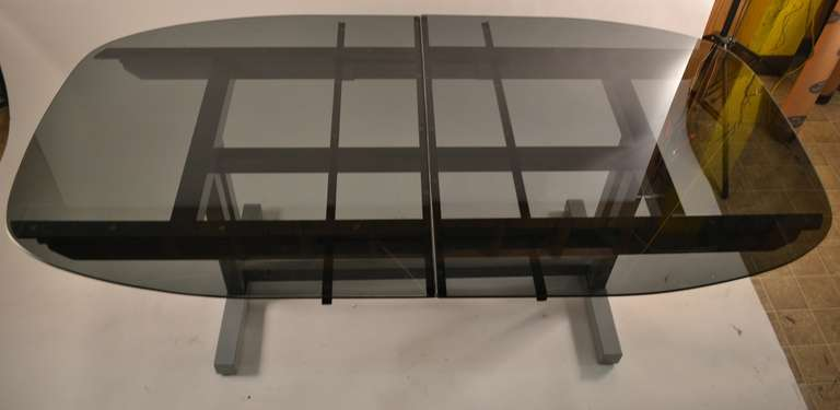 unusual plate glass extension dining table for sale at 1stdibs