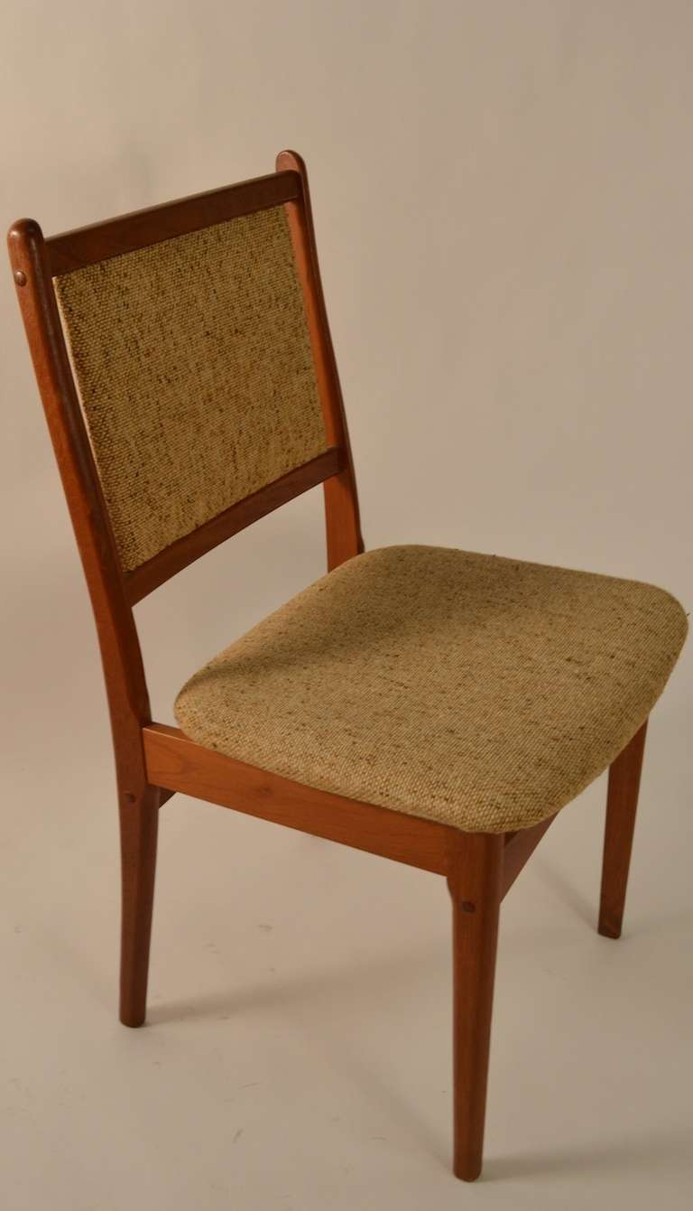 Danish Modern Set of Six Teak Dining Chairs For Sale at 1stdibs