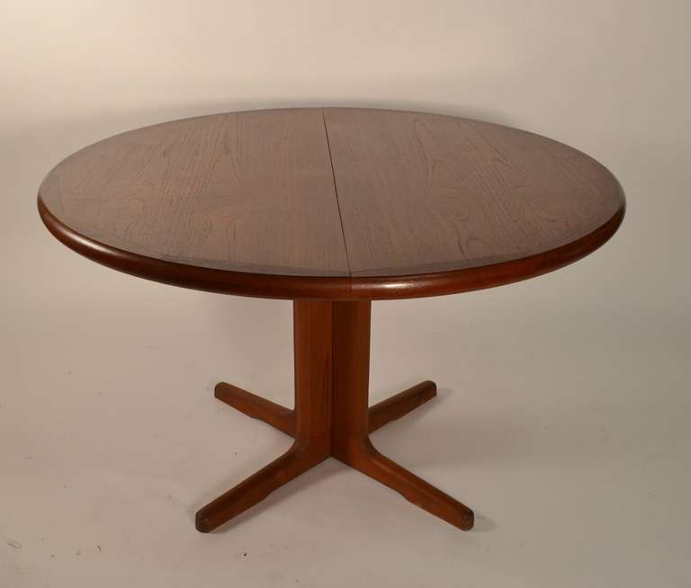 Round Teak Danish Modern Dining Table With Two Leaves At
