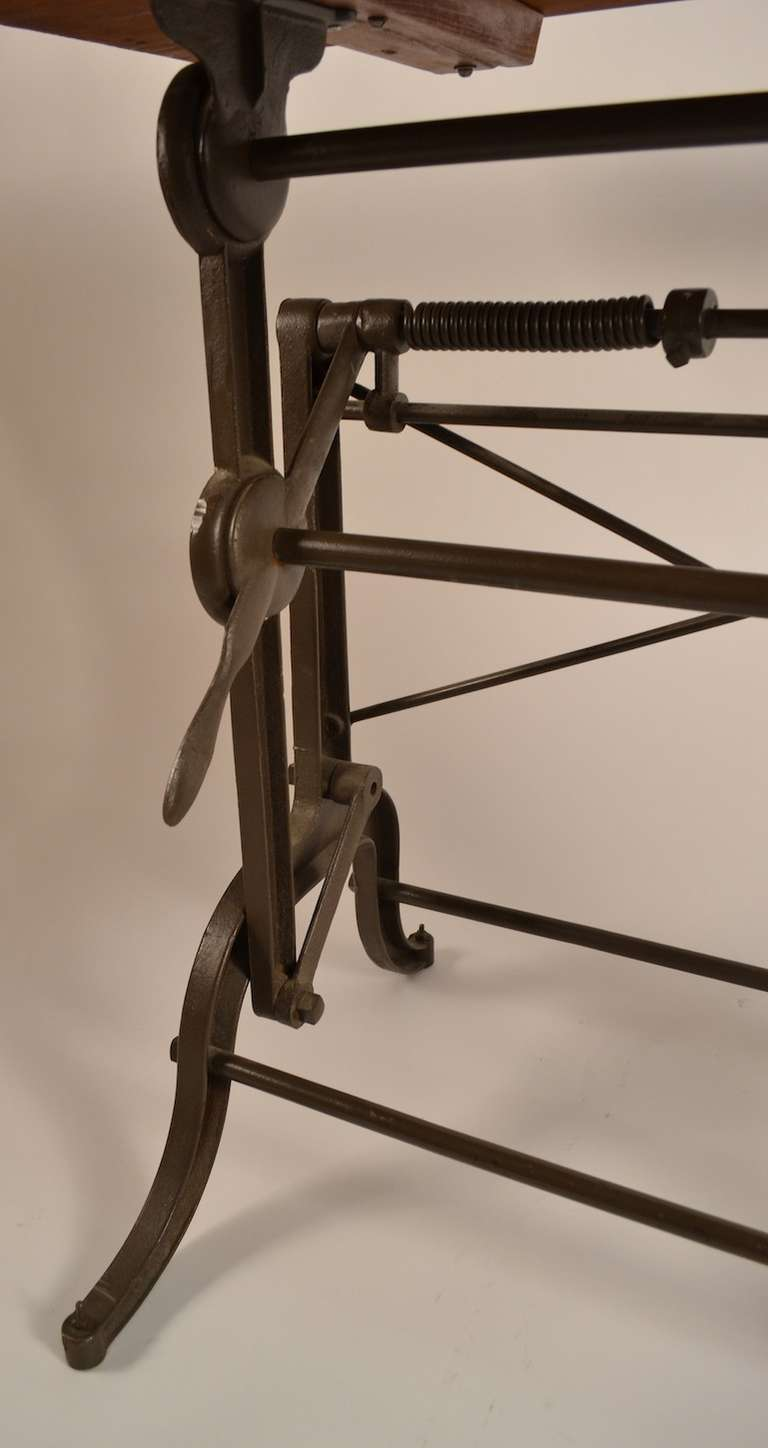 American Drafting Table With Cast Iron Base At 1stdibs