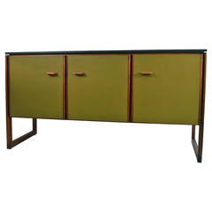 Jens Risom Leather Front Stone Top Cabinet