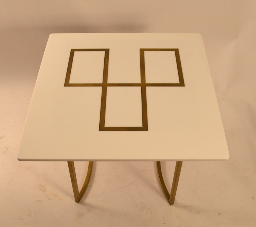 Mid-Century Modern Elegant Squared Brass and White Glass Table For Sale