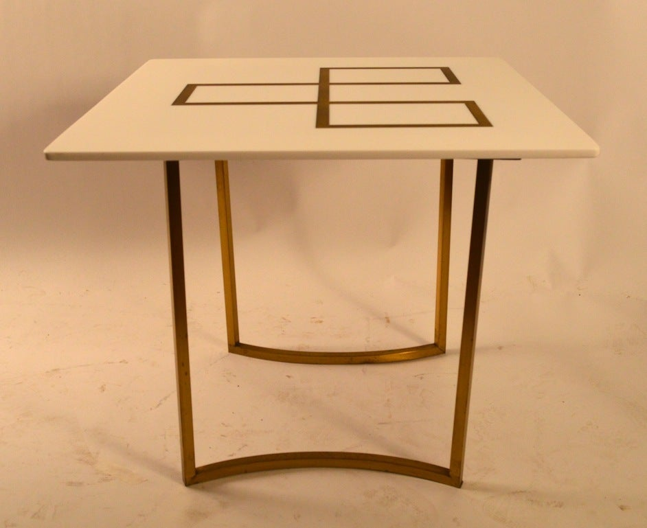 Elegant Squared Brass and White Glass Table 4
