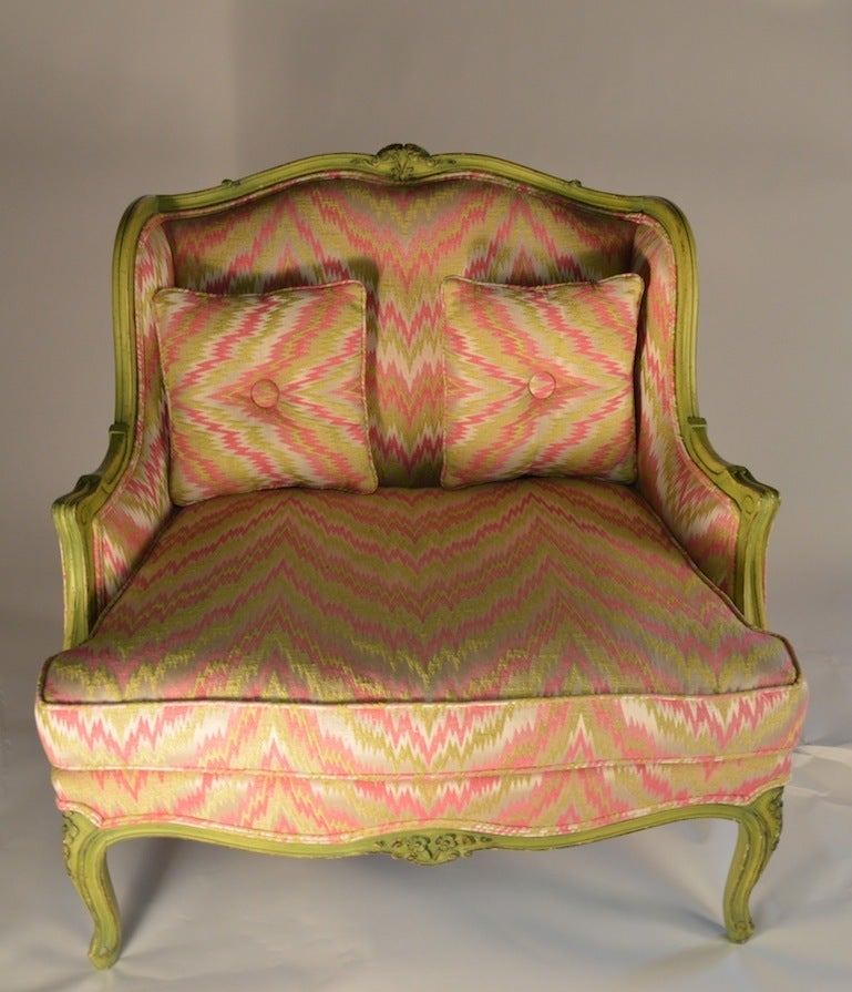 American French Style Chair and a Half For Sale