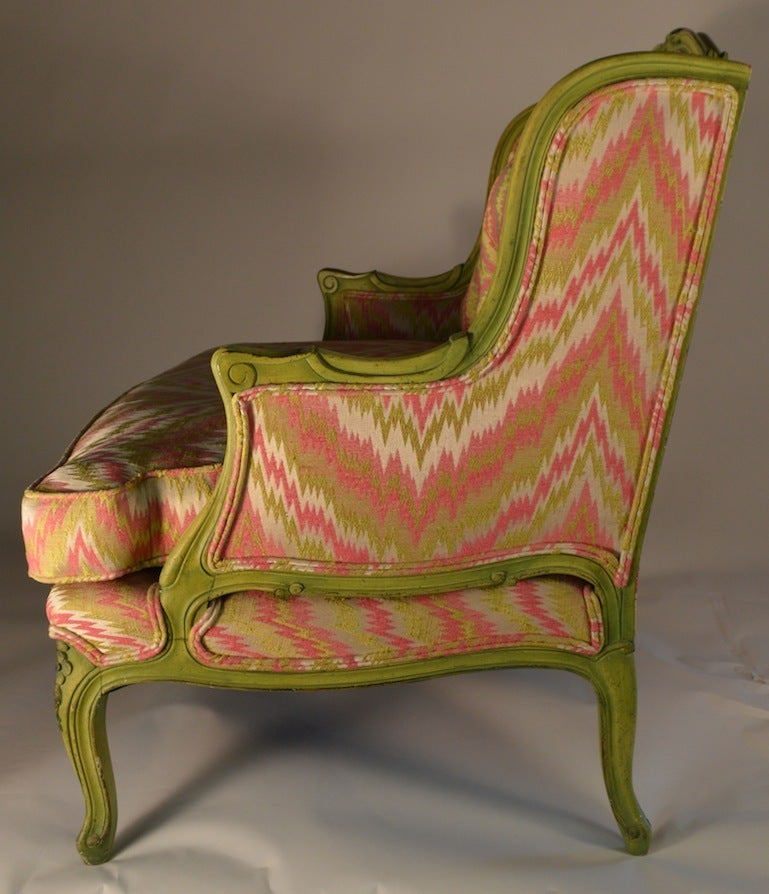 Fabric French Style Chair and a Half For Sale