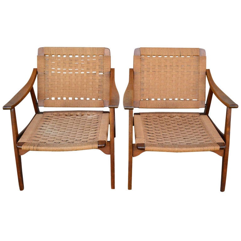 Pair of Mid Century Modern Arm Chairs Made in Yugoslavia 1