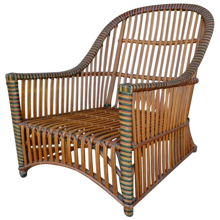 Ficks reed wicker club chair at 1stdibs for Wicker reed