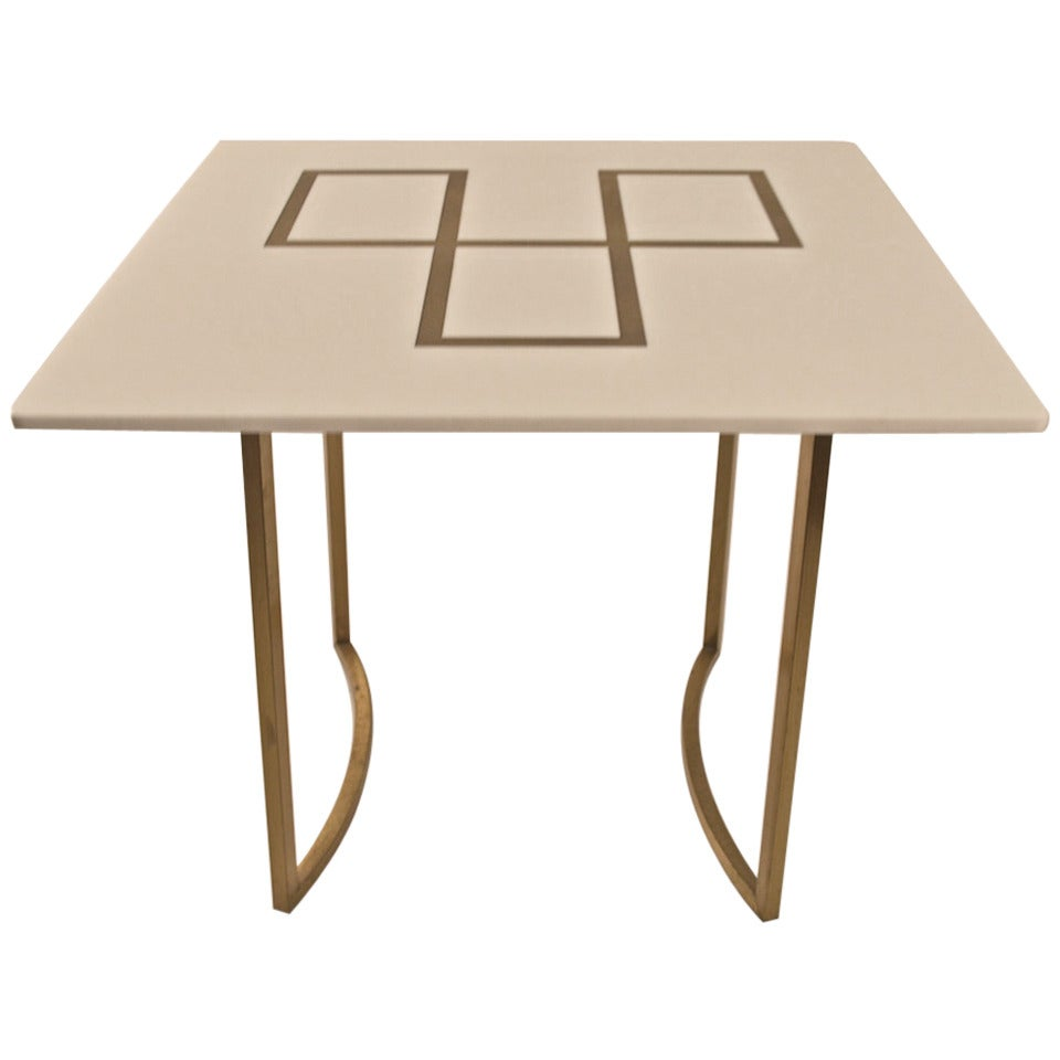 Elegant Squared Brass and White Glass Table For Sale