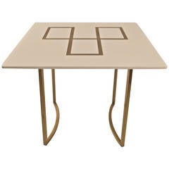 Elegant Squared Brass and White Glass Table