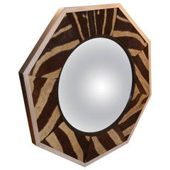 Octagonal Aluminum Frame Zebra Skin Convex Mirror