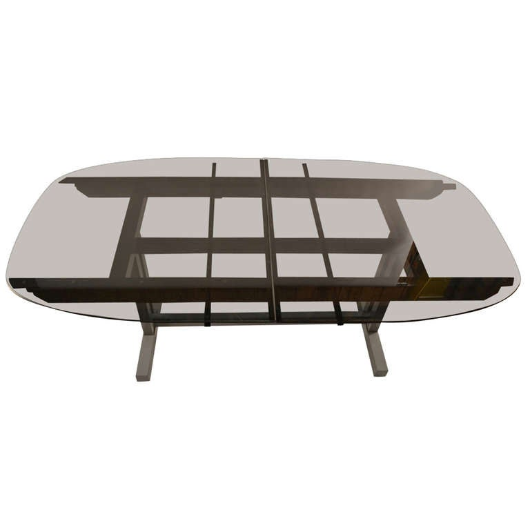 Unusual plate glass extension dining table at 1stdibs for Unusual extending dining tables