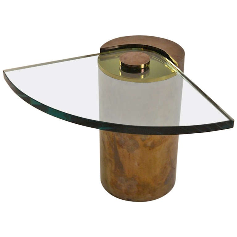 Karl Springer Drum End Table With Wedge Plate Glass Shelf For Sale - Copper drum end table