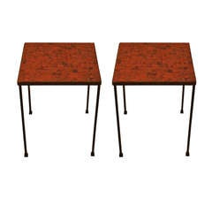 Pair of Square Mosaic Top Modernist Tables