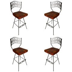 Set of Four Classic Arthur Umanoff Swivel Bar Counter Stools