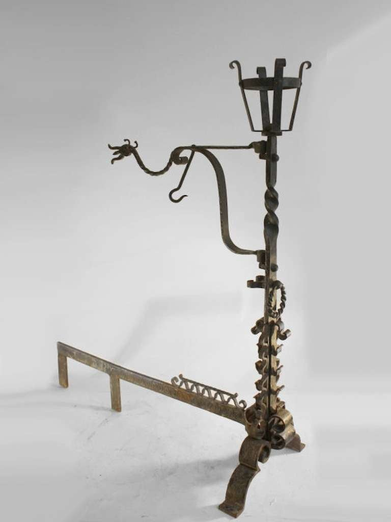 Large Pair Hand Wrought Gothic Arts and Crafts Andirons In Good Condition For Sale In New York, NY
