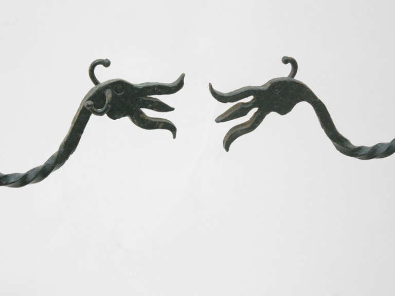 Large Pair Hand Wrought Gothic Arts and Crafts Andirons - Iron, and steel, hand chased decoration, swinging pot holder arms.