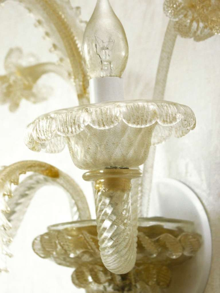 Venetian Glass Wall Lights : Pair Venetian Glass Sconces at 1stdibs