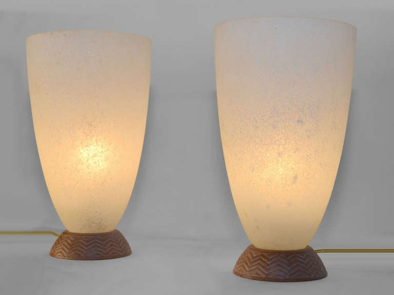 Pair Coroso Finish Murano Glass Urn Form Lamps 2