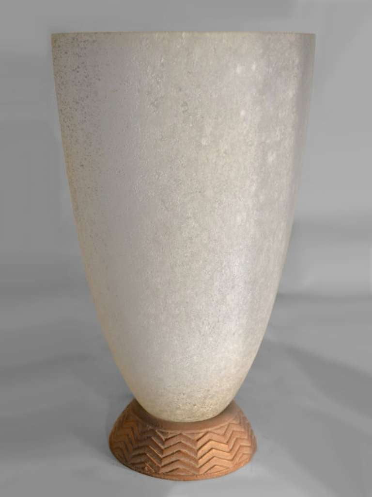 Pair Coroso Finish Murano Glass Urn Form Lamps 3