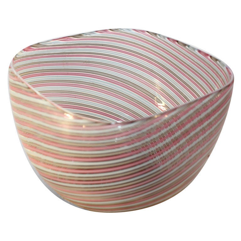 Cenedese Italian Murano Bowl, Signed For Sale
