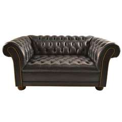 Dark Navy Tufted  Leather Chesterfield with Brass Stud Trim