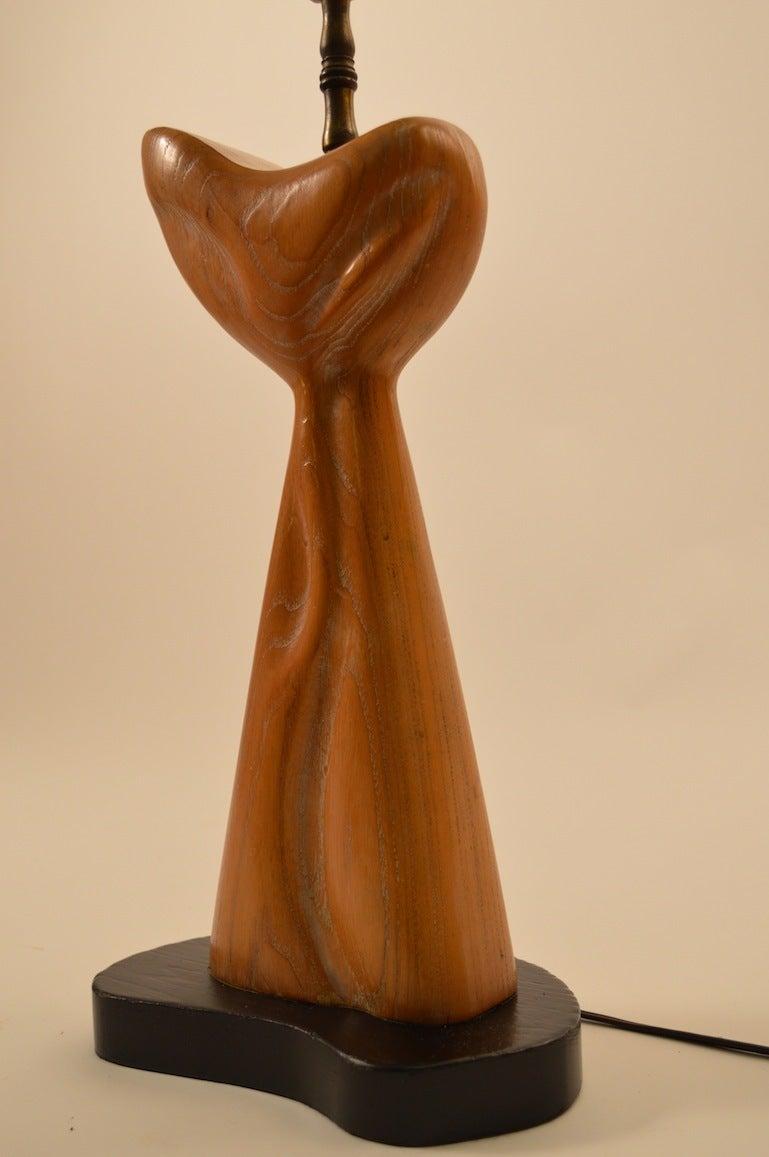 Interesting biomorphic cerused oak table lamp, attributed to Yasha Heifetz.