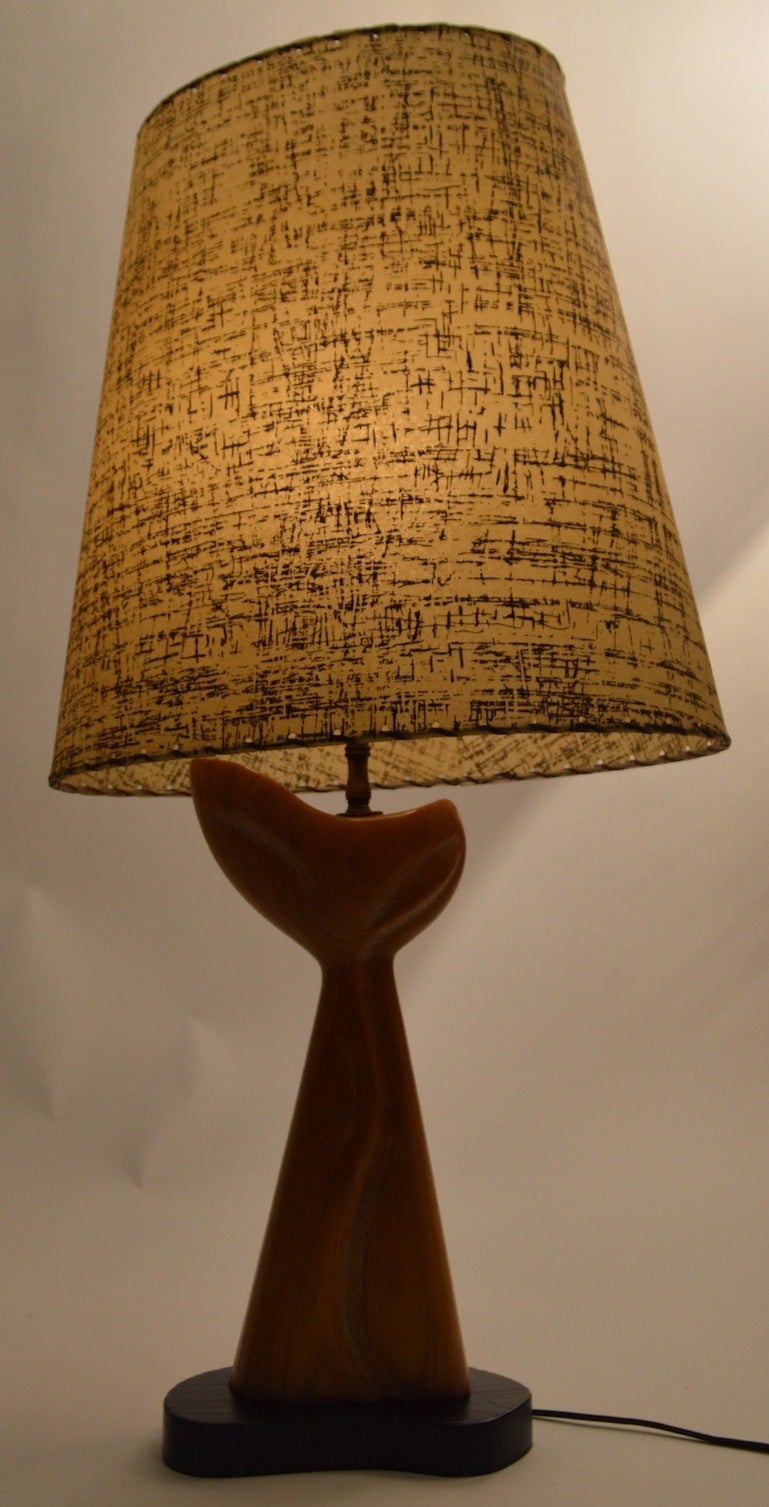 Mid-20th Century Cerused Oak Table Lamp Attributed to Heifetz For Sale