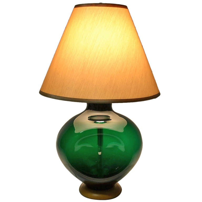 Blenko Pinch Form Emerald Green Table Lamp For
