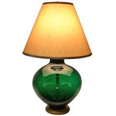 Blenko  Pinch Form Emerald Green Table Lamp