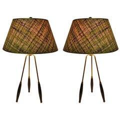 Pair Thurston Tri Pod Table Lamps