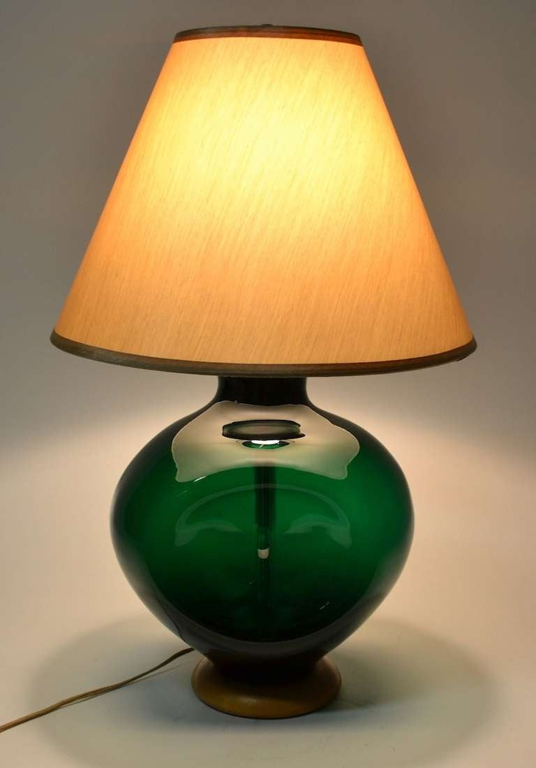 Blenko  Pinch Form Emerald Green Table Lamp 2