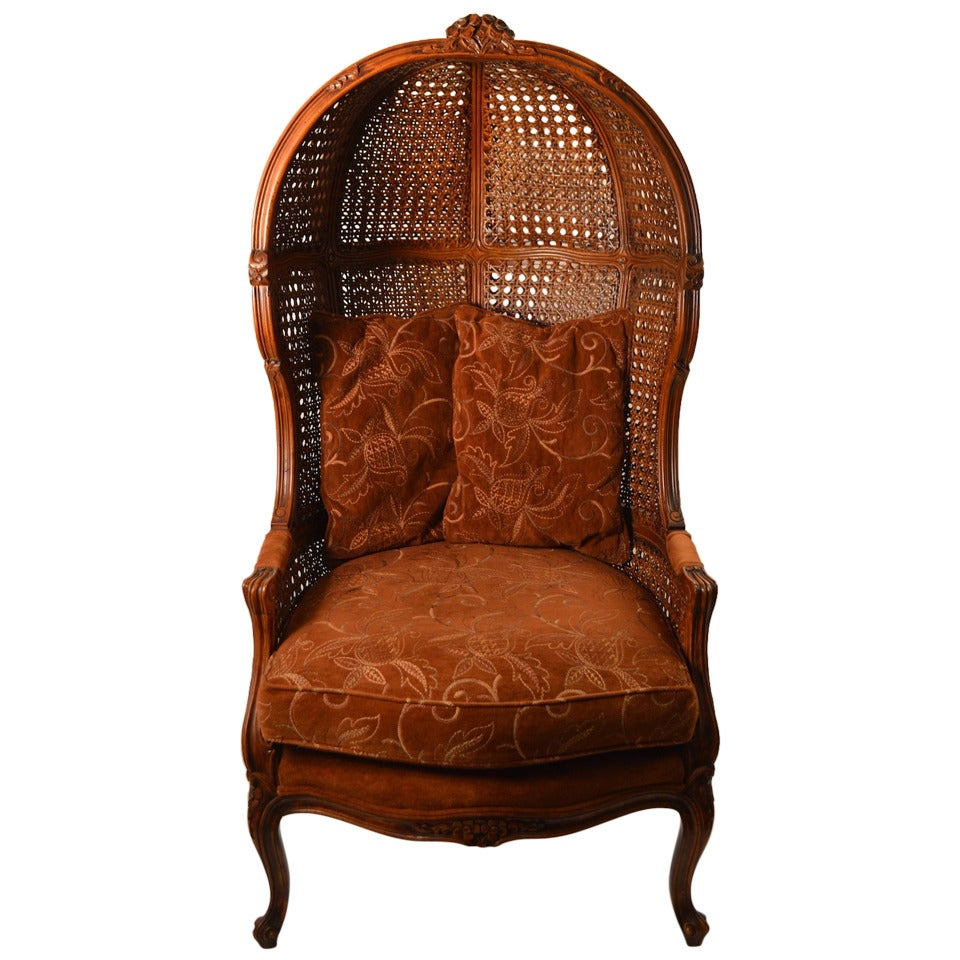 French Style Hooded Cane Back Chair At 1stdibs