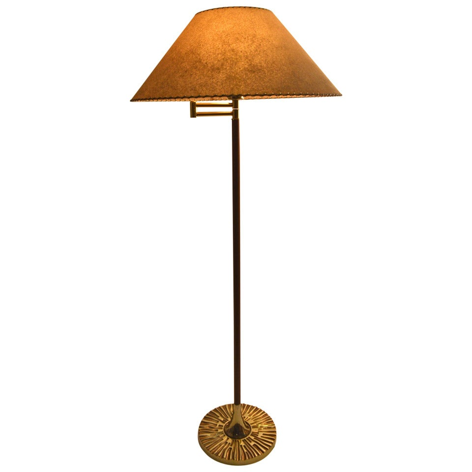 Midcentury swing arm floor lamp with brutalist base for for Swing arm floor lamp wood