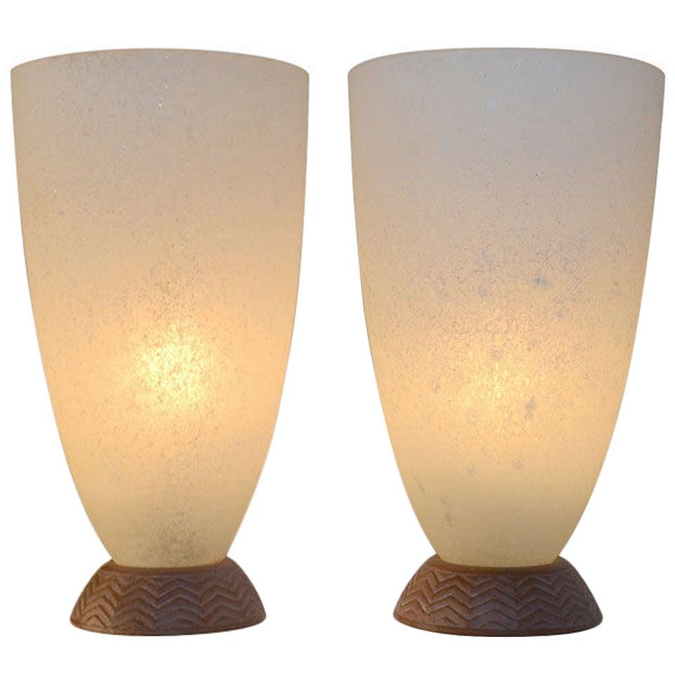 Pair Coroso Finish Murano Glass Urn Form Lamps