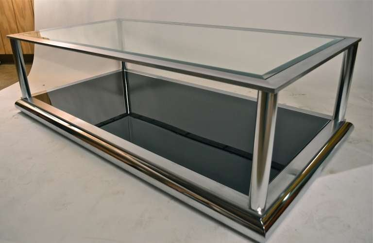 Very Large Chrome And Glass Coffee Table At 1stdibs