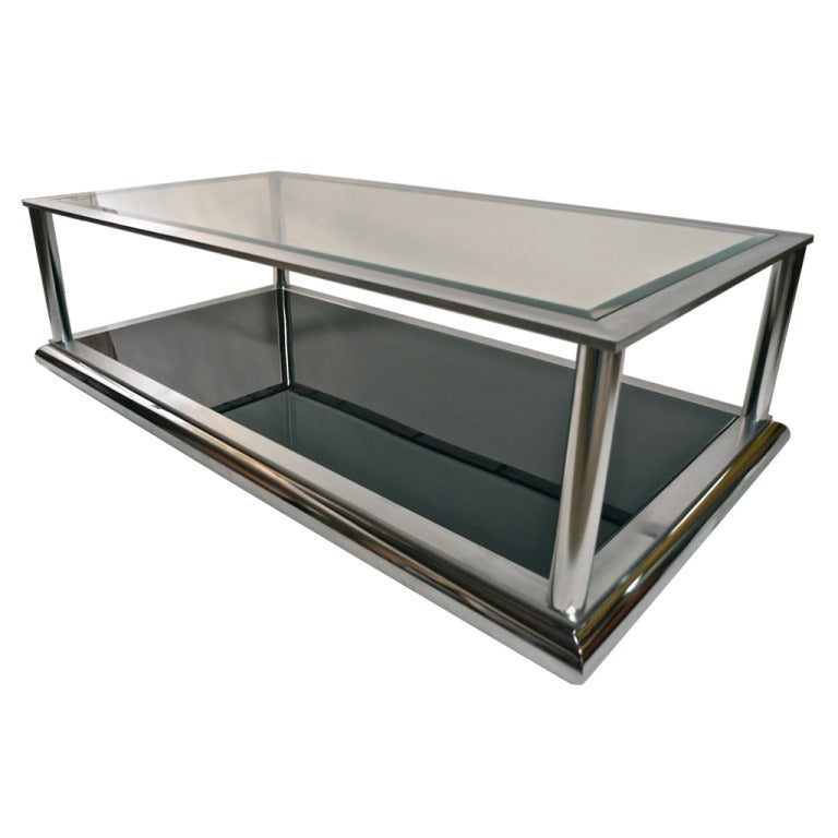 Very large chrome and glass coffee table for Large glass coffee table