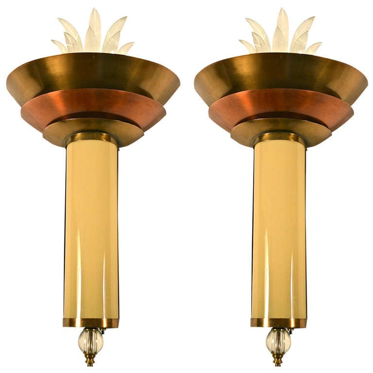 Art Deco Theater Wall Sconces : Pair of Art Deco Theater Sconces at 1stdibs