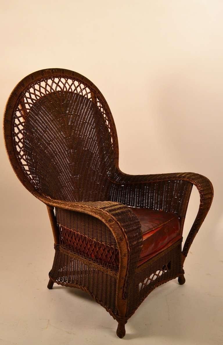 Stylish Wicker Lounge Chair at 1stdibs