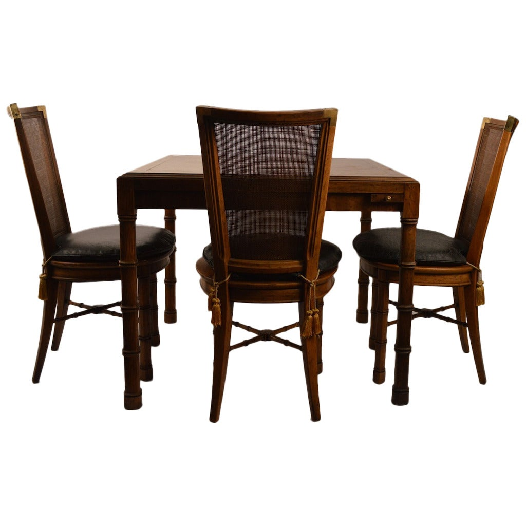 Card Table With Four Chairs By Heritage Henredon For Sale