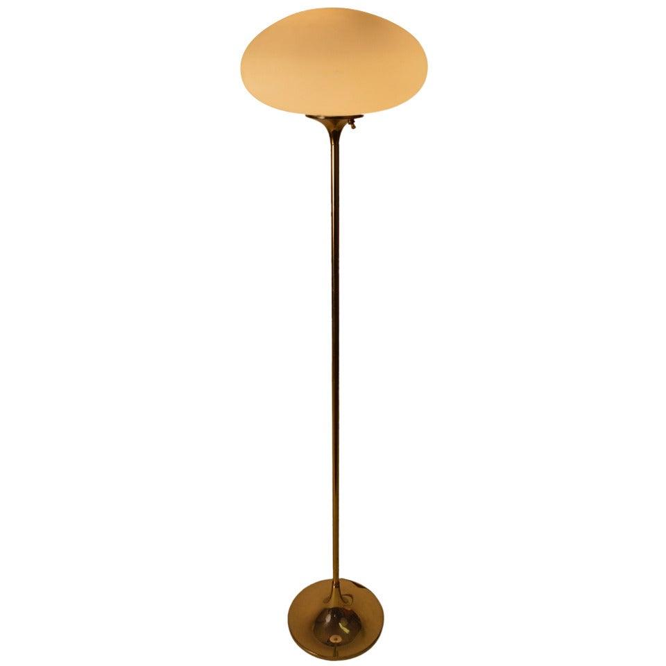 Laurel mushroom floor lamp with brass stem at 1stdibs for Floor lamp glass stem